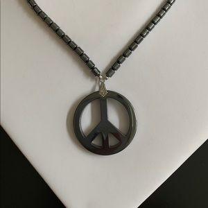 Jewelry - Hematite Peace Sign Pendant Beaded Necklace